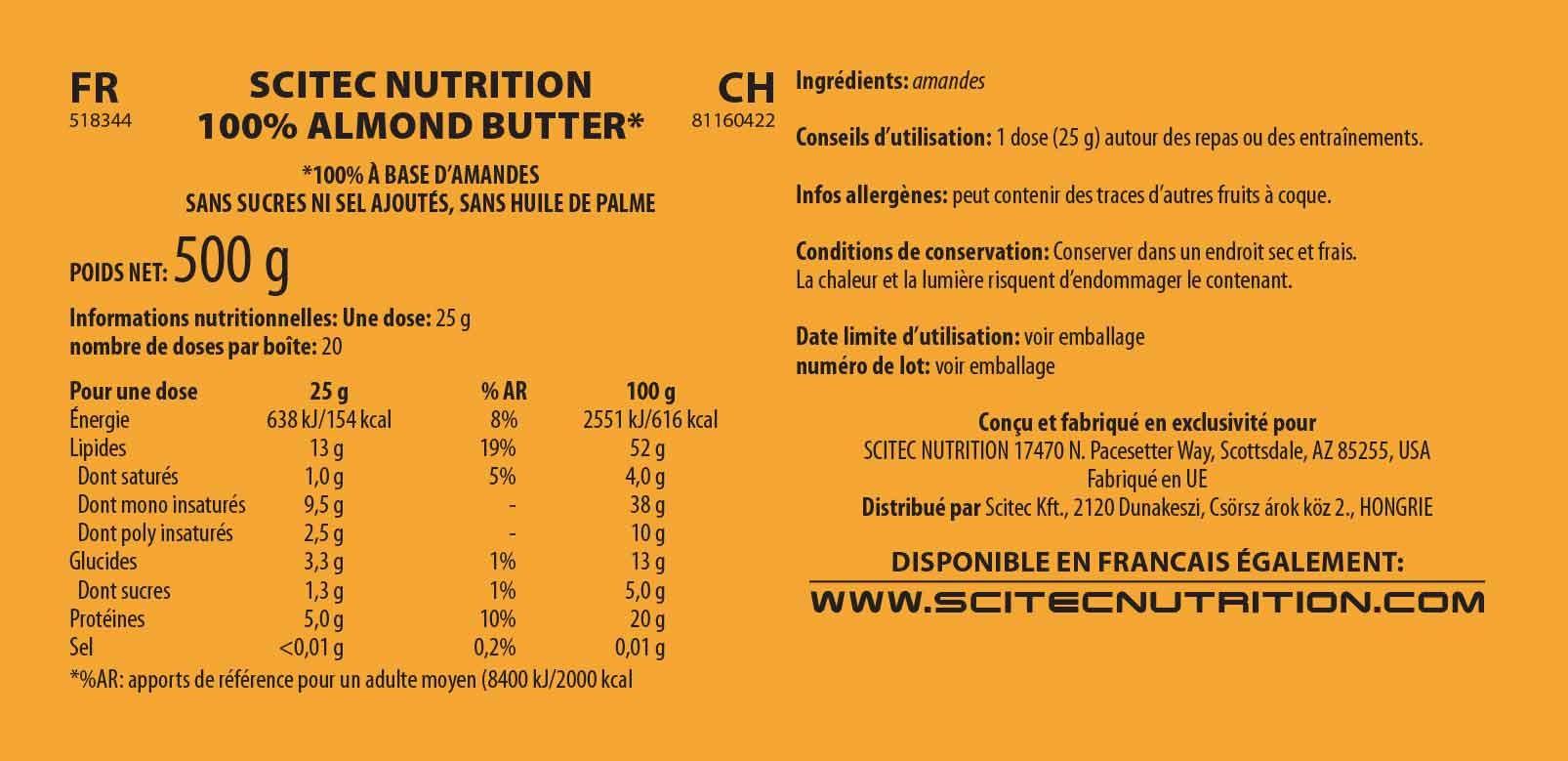 Informations nutritionnelles 100% Almond Butter de Scitec Nutrition