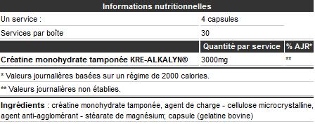Informations nutritionnelles Kre-Alkalyn 1500 de Olimp Sport Nutrition