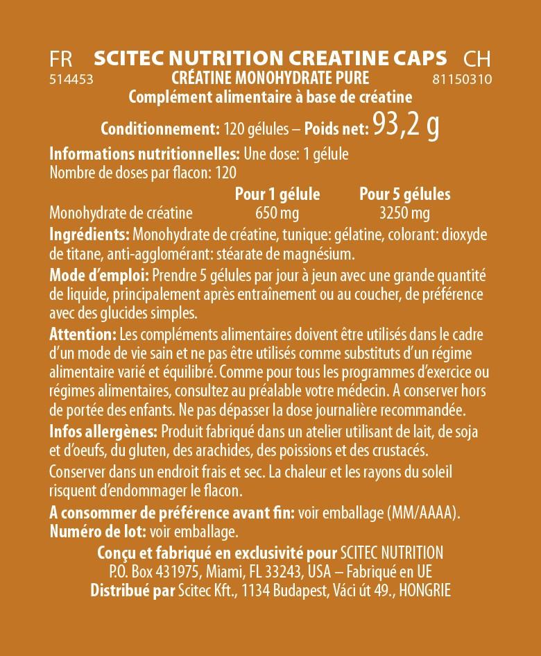 Informations nutritionnelles Creatine Caps de Scitec Nutrition