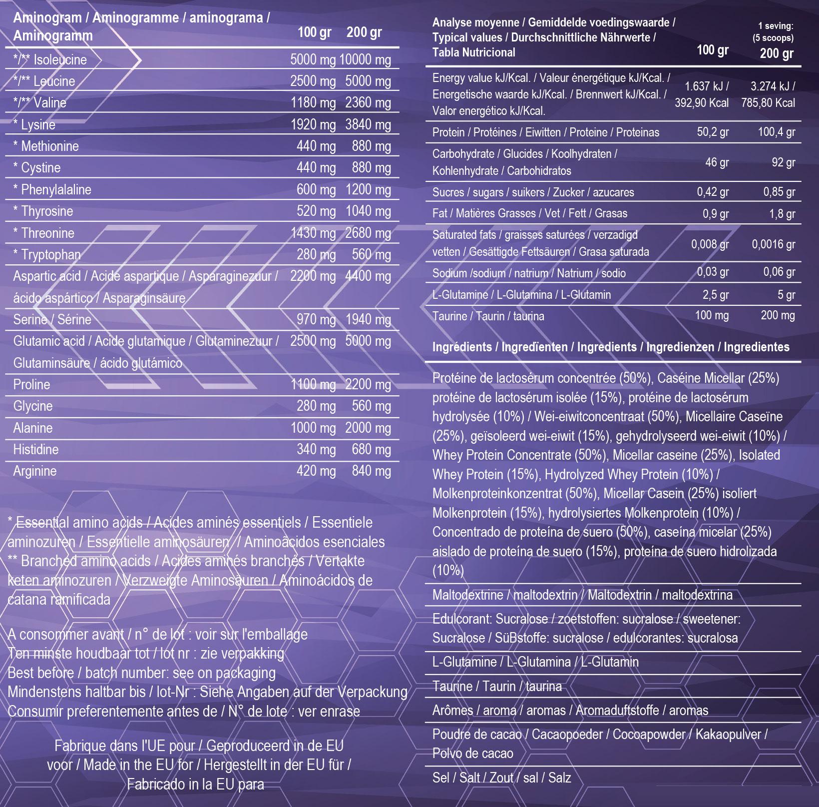 Informations nutritionnelles Armageddon Pro 100 d'Addict Sport Nutrition