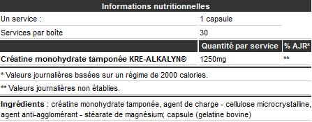 Informations nutritionnelles Kre-Alkalyn 2500 de Olimp Sport Nutrition