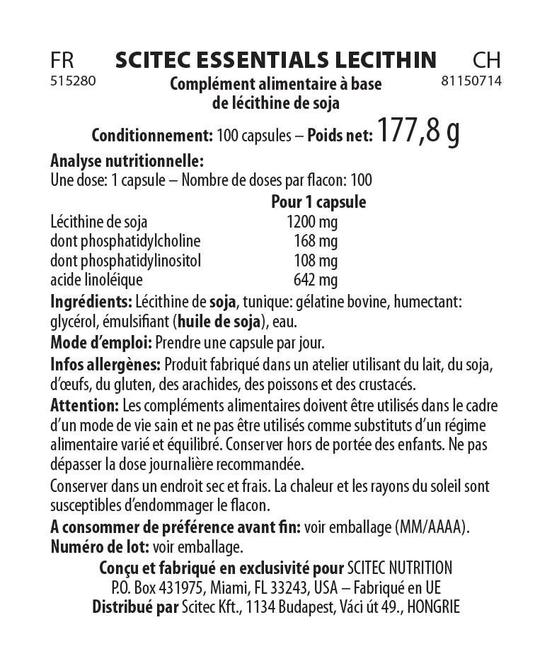 Informations nutritionnelles Lécithine de Soja de Scitec Essentials
