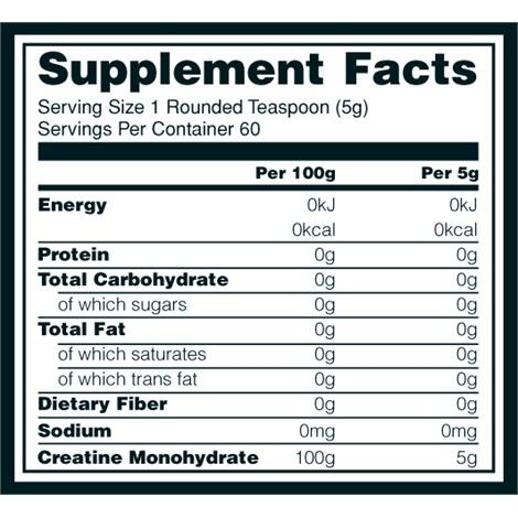 Informations nutritionnelles Micronized Creatine Powder d'Optimum Nutrition