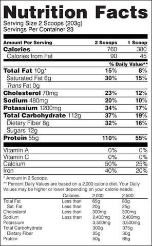 Informations nutritionnelles Gold Standard Gainer d'Optimum Nutrition