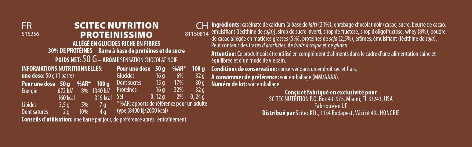 Informations nutritionnelles Proteinissimo de Scitec Nutrition