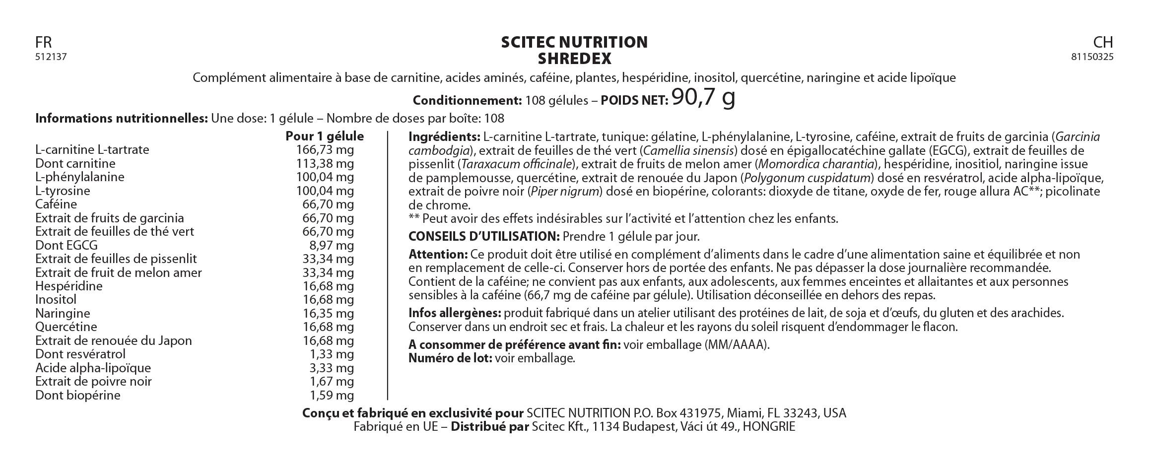 Informations nutritionnelles Shredex de Scitec Nutrition