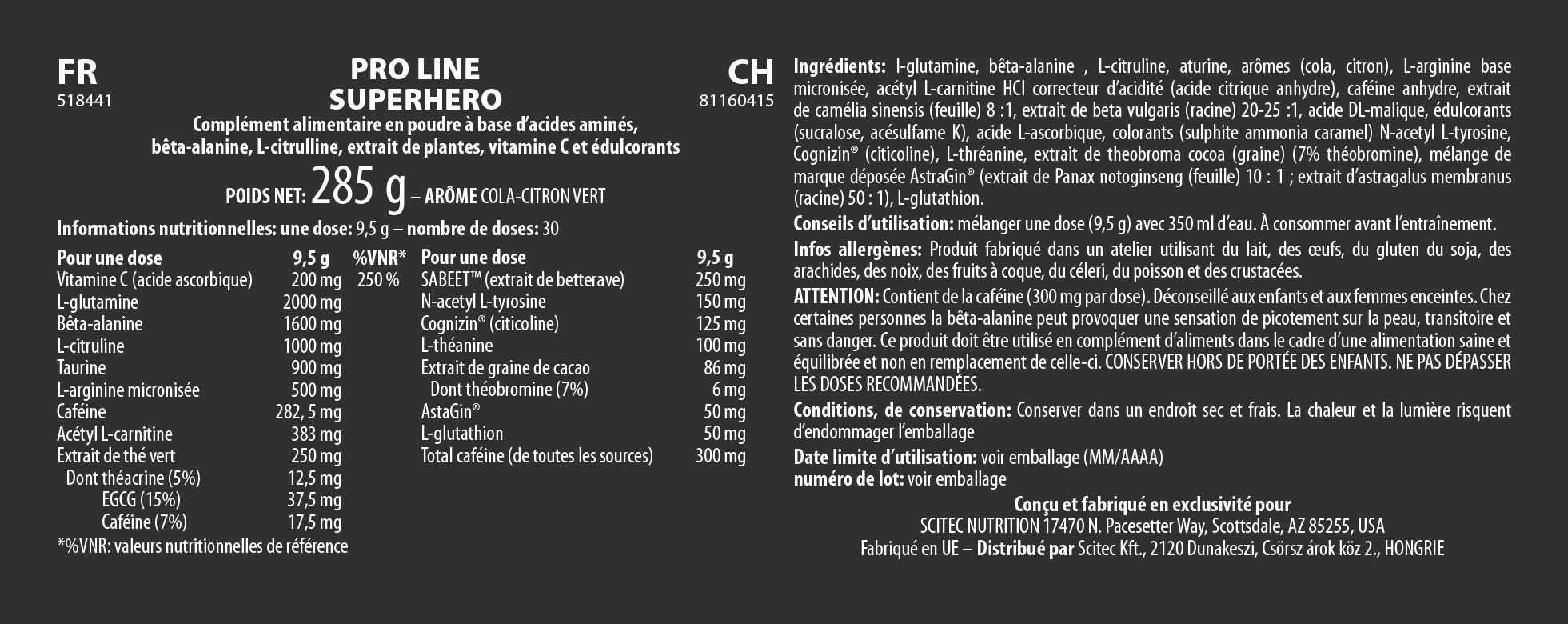Informations nutritionnelles Superhero de Scitec Pro Line