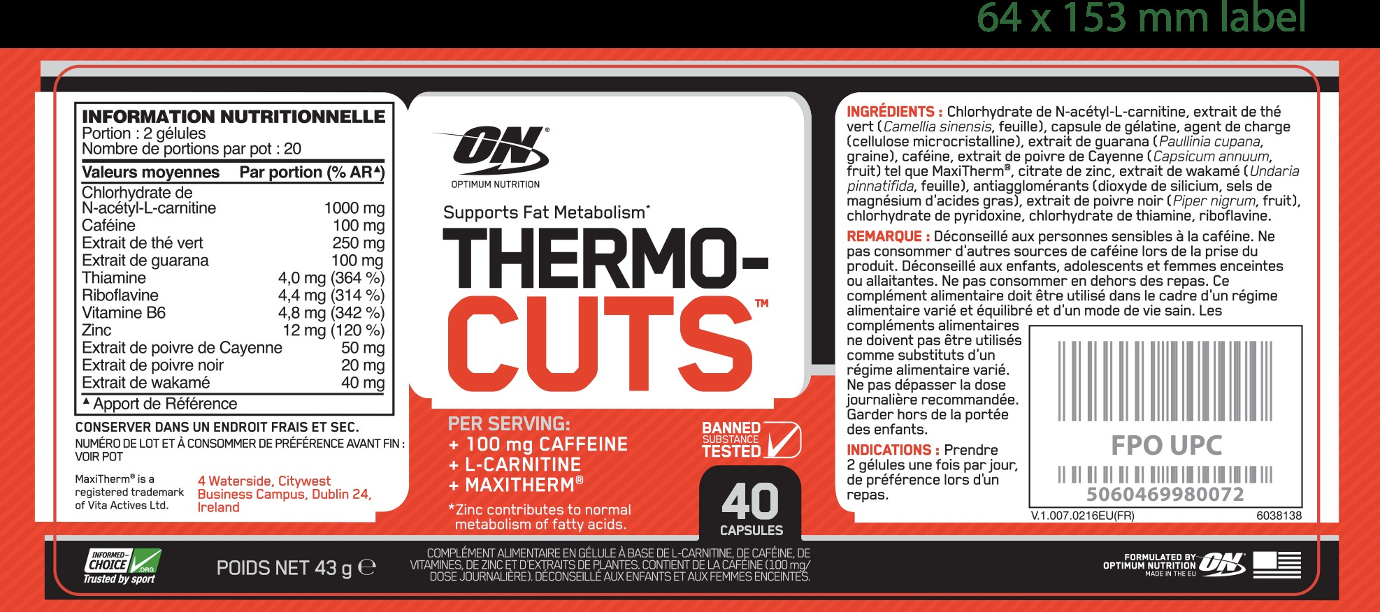 Thermo Cuts d'Optimum Nutrition pas