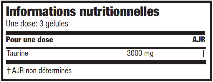 Informations nutritionnelles L-Taurine caps de Scitec Nutrition