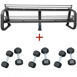 Pack rack + 10 paires d'haltères 20kg à 45kg