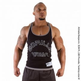 Logo Stringer Tank Top Black - Gorilla Wear
