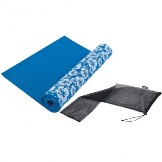 Yogamat Printed with bag, Blue - Tunturi