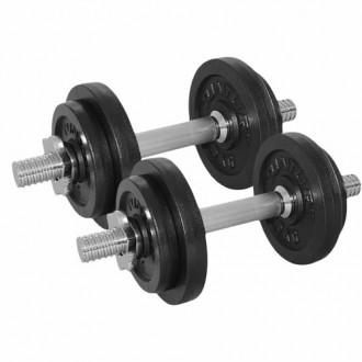 Dumbbellset 20kg, with 2 Bars Screw -...