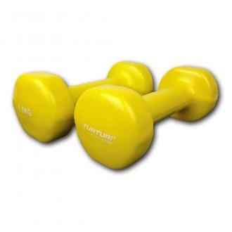 Vinyl Dumbbells 1.5kg, Yellow, Pair -...