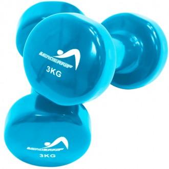 Haltères vinyle 3kg bleu