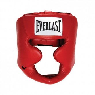 Leather Full Protect Headgear (Red) -...