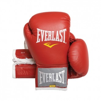 Leather Velcro Training Glove (Red) -...