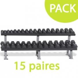 Pack rack + 15 paires d'haltères
